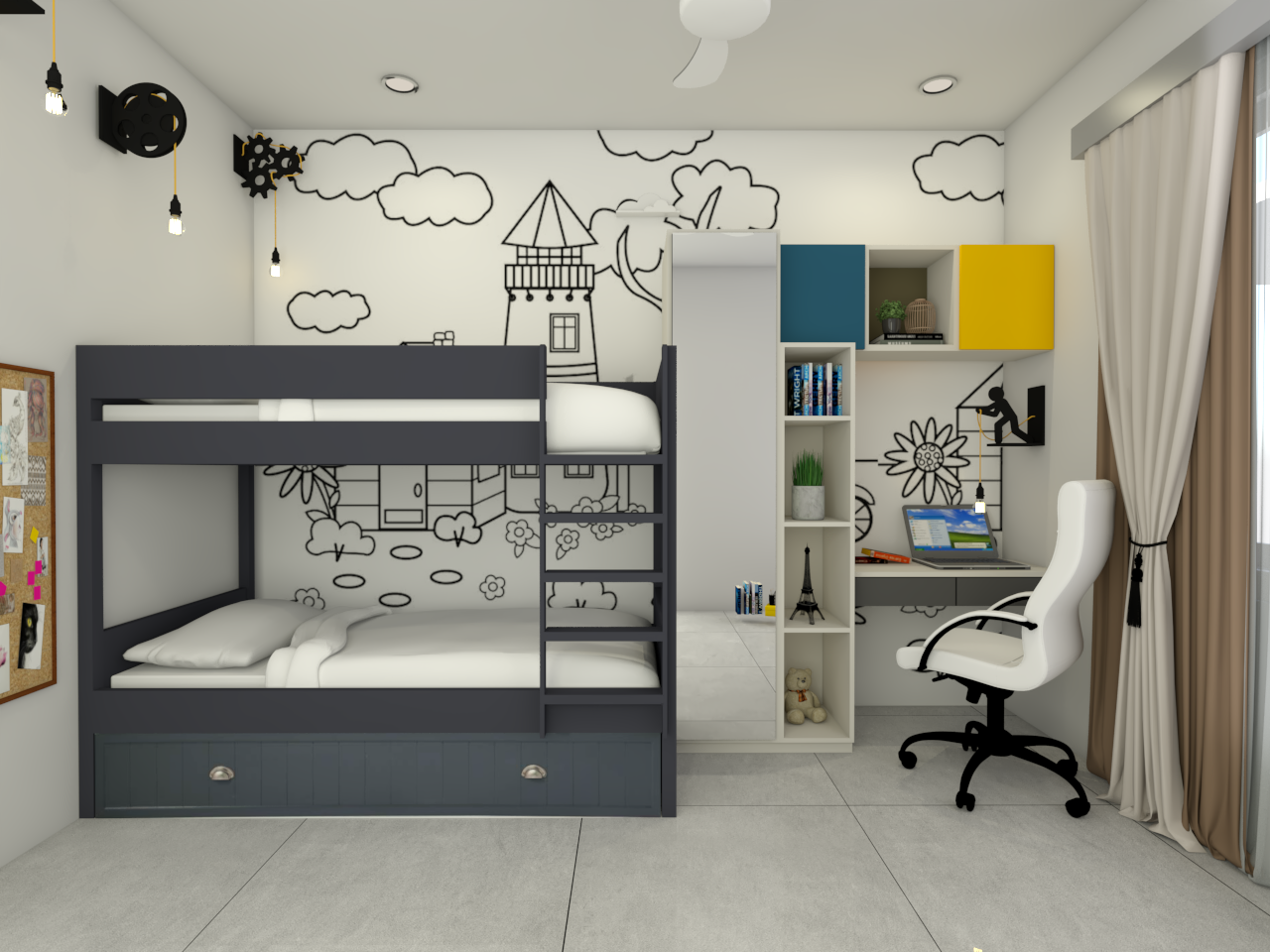 Wardrobe and Study Table for Kids' Bedroom - Mr. Puneeth